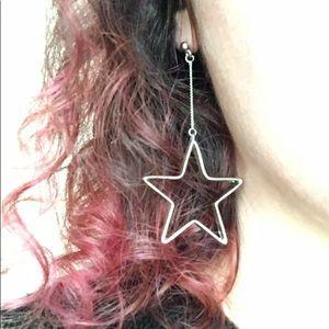 Silver-toned Star Drop Earrings